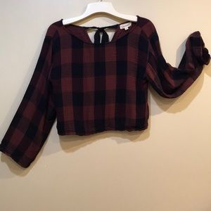 Anthro Cloth and Stone crop plaid bell sleeve top